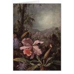 Orquídeas, flores de la pasión y colibríes de tarjeta de felicitación