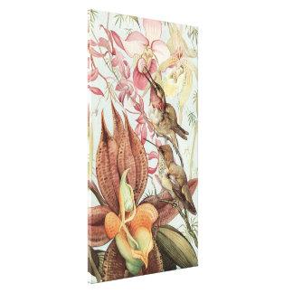 Orquídeas, flores y colibríes tropicales del vinta impresiones en lona