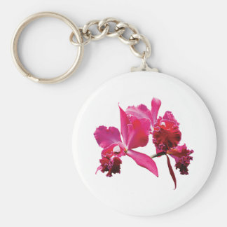 Orquídeas magentas llavero redondo tipo pin