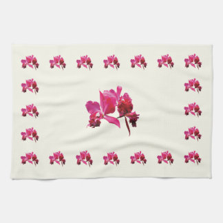 Orquídeas magentas toalla de cocina