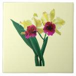 Orquídeas magentas y amarillas azulejo cerámica