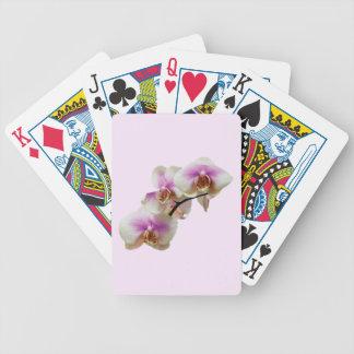 Orquídeas magentas y blancas pálidas baraja de cartas bicycle