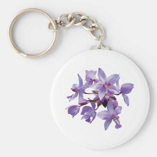 Orquídeas púrpuras con rocío llavero redondo tipo pin