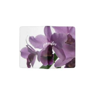 Orquídeas púrpuras elegantes de Cattleya Porta Pasaportes