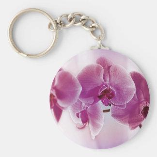 Orquídeas púrpuras llavero redondo tipo pin