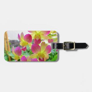 Orquídeas rosadas amarillas etiquetas para equipaje