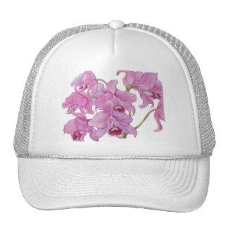 Orquídeas rosadas gorros bordados