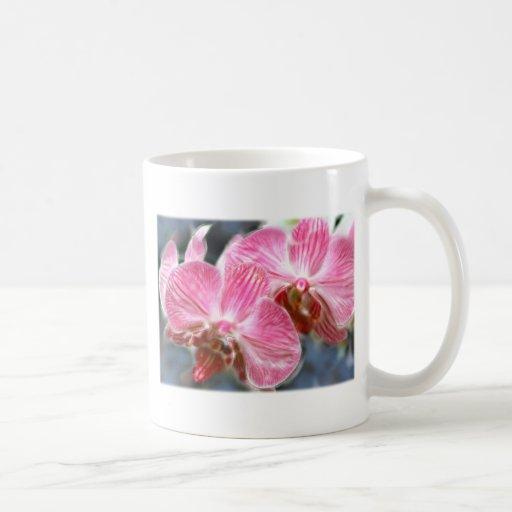 Orquídeas rosadas rayadas del Phalaenopsis Taza Básica Blanca