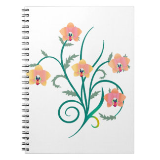 Orquídeas rosadas y amarillas del Phalaenopsis Libros De Apuntes Con Espiral