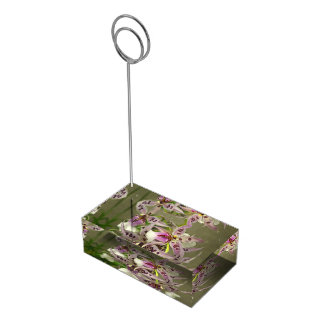 Orquídeas rosadas y blancas soportes de tarjeta de mesa