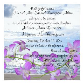 """Orquídeas tropicales del boda de playa invitación 5.25"""" x 5.25"""""""