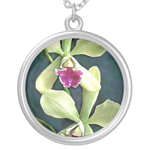 Orquídeas verdes y púrpuras colgante redondo