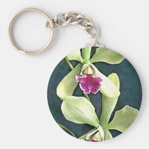 Orquídeas verdes y púrpuras de Cattleya Llavero Redondo Tipo Pin