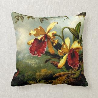 Orquídeas y colibrí, arte botánico almohadas