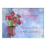 Orquídeas y cumpleaños de la acuarela 50.o invitacion personal