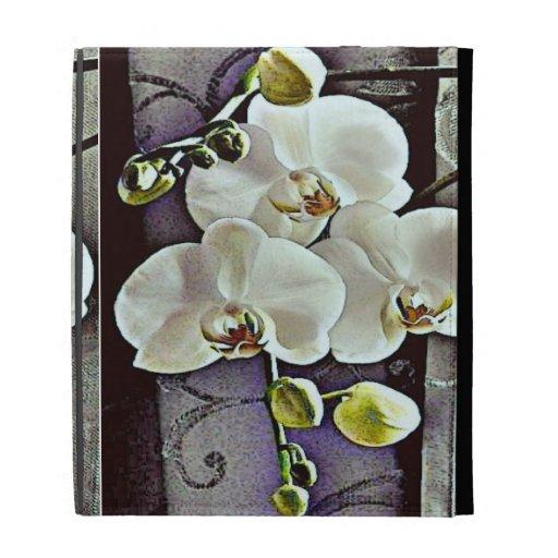 Orquídeas y dril de algodón blancos