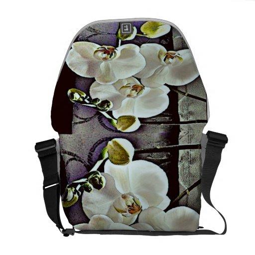 Orquídeas y dril de algodón blancos bolsa de mensajería
