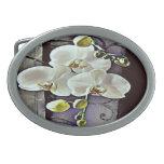 Orquídeas y dril de algodón blancos hebillas cinturon ovales