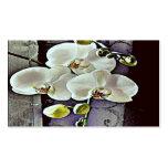 Orquídeas y dril de algodón blancos plantillas de tarjetas personales