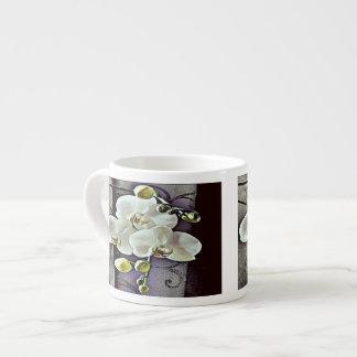 Orquídeas y dril de algodón blancos tazitas espresso