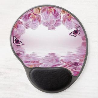 Orquídeas y mariposa rosadas Mousepad Alfombrilla De Raton Con Gel