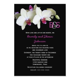 """Orquídeas y monograma amarillos florales de la invitación 5"""" x 7"""""""