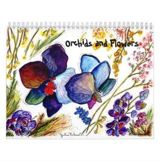 Orquídeas y otras flores calendario de pared