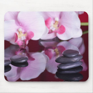 Orquídeas y piedras Mousepad del balneario