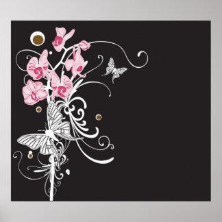 Orquídeas y poster de las mariposas