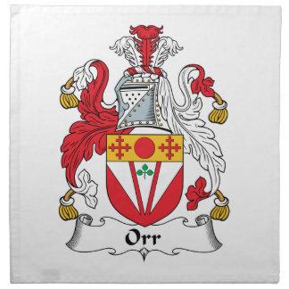 Orr Family Crest Printed Napkins