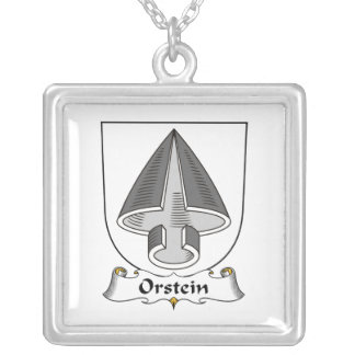 Orstein Family Crest Square Pendant Necklace