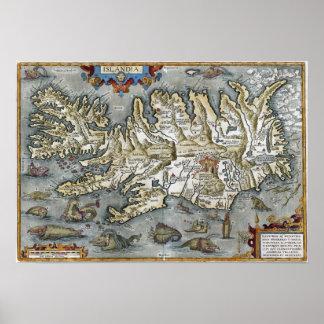 Ortelius Islandia Map featuring Sea Monsters Print
