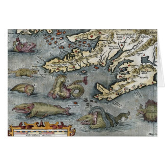 Ortelius Map Sea Monsters Card