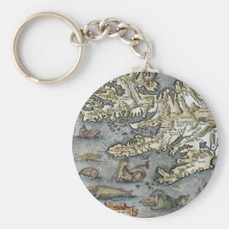 Ortelius Map Sea Monsters Keychain