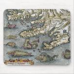 Ortelius Map Sea Monsters Mousepad