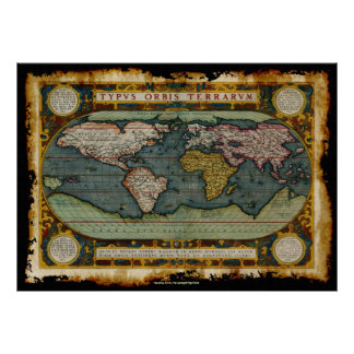 Ortelius' Old World Map in Rustic Grunge Style Poster