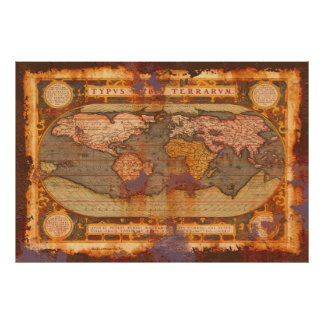 Ortelius' Old World Map in Rusty Grunge Style Poster