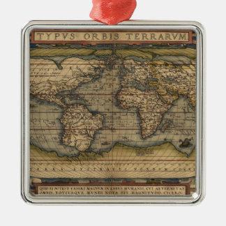 Ortelius World Map 1570 Metal Ornament