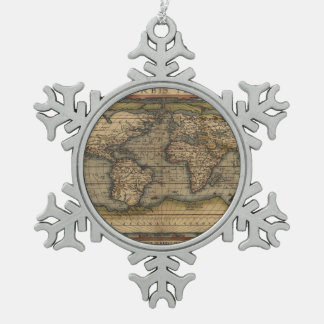 Ortelius World Map 1570 Snowflake Pewter Christmas Ornament