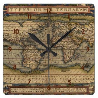Ortelius World Map 1570 Square Wall Clock
