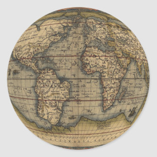 Ortelius World Map Classic Round Sticker