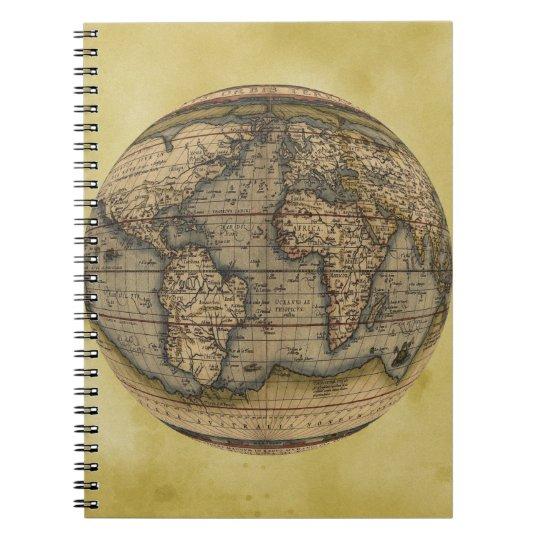 Ortelius world map spiral notebook