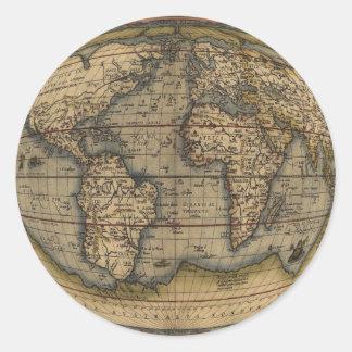 Ortelius World Map Round Stickers