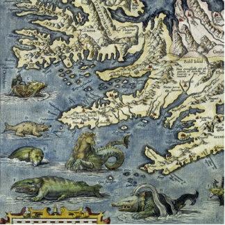 Ortelus Map Sea Monsters Photo Sculpture