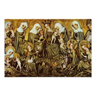 Ortenberger Altar Scene The Holy Kinship By Meiste Poster