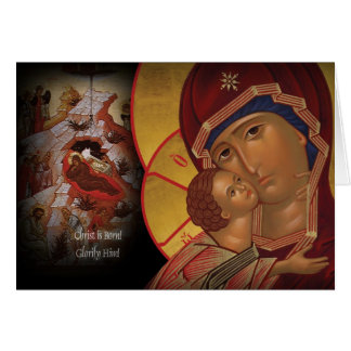 Orthodox Christmas Card Theotokos icon of Vladimir