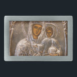 "Orthodox icon belt buckle<br><div class=""desc"">Jesus Christ and his mother Mary on old Russian icon. Silver look. Photography.</div>"