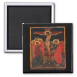 Orthodox Icon of Jesus on the Cross 2 Inch Square Magnet