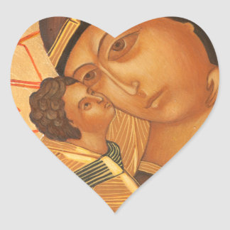 Orthodox Icon of Virgin Mary and Baby Jesus Heart Sticker