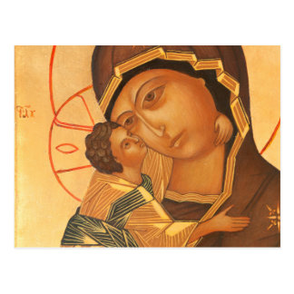 Orthodox Icon of Virgin Mary and Baby Jesus Postcard